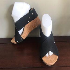 Curfew Ruth Black Wedge Heels